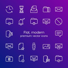 Modern Simple Set of folder, time, files, email Vector outline Icons. Contains such Icons as  hour,  time,  reply,  internet, change and more on gradient background. Fully Editable. Pixel Perfect