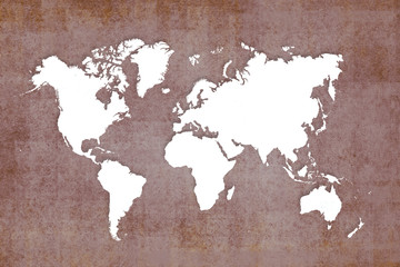 old white map of the world ,brown background