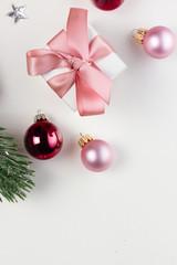 Christmas flat lay scene with glass balls