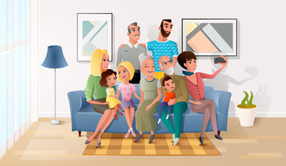 Happy Members of Big Family Gathered Together, Making Selfie Photo, Shooting Group Portrait of Three Generations on Cellphone while Sitting on Sofa in Living Room at Home Cartoon Vector Illustration