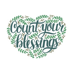 Hand lettering Count your blessing with leaves.
