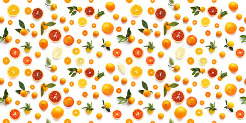 Food texture. Seamless pattern of fresh fruit tangerines and orange isolated on white background,...