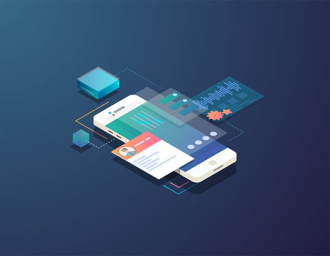 Mobile development concept. Isometric mobile phone with futuristic UI and layers of applications. App on mobile phone. Innovation in UI and software development.