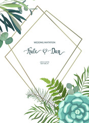 Greenery floral frame with leaves, succulent plant, branches and cactus. Perfect for wedding, frame, pattern,greeting card, invitations, lettering. Watercolor style. Vector illustration