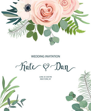 Floral frame with anemone, rose and eucalyptus. For wedding, Valentine's day, Birthday. Vector illustration. Watercolor style