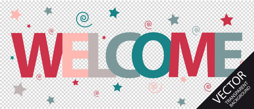 Welcome Text With Stars And Spirals - Colorful Vector Illustration - Isolated On Transparent Background