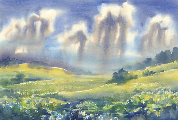 summer meadow watercolor landscape