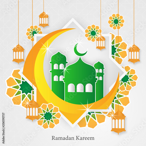 ramadhan kareem greeting card template with lantern and mosque