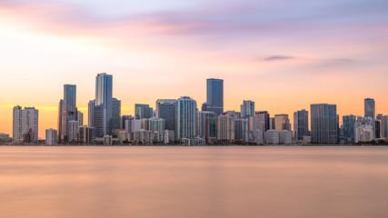 Downtown Brickell Miami Skyline Sunset