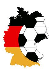 WM-Motiv für Deutschland. Karte mit Flaggen-Farben und Fußball. Eps 10 Vector-Datei