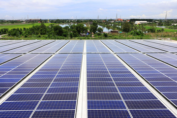 Solar PV Rooftop System Countryside Background
