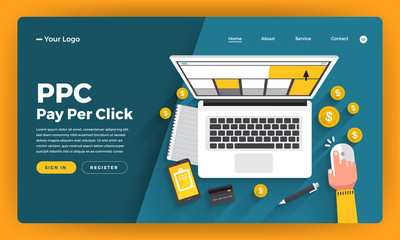 Mock-up design website flat design concept PPC pay per click. Vector illustration.