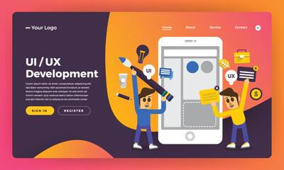 Mock-up design website flat design concept UX/UI Development. Vector illustration.