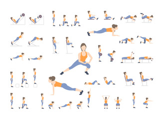 Set of sport exercises. Exercises with free weight. Exercises in a gym. Illustration of an active lifestyle. Vector