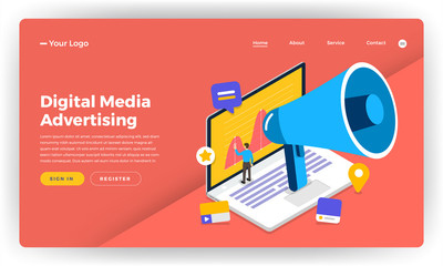 Mock-up design website flat design concept digital marketing. Online Banner Advertising.  Vector illustration.