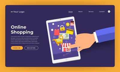 Mock-up design website flat design concept online shopping.  Vector illustration.