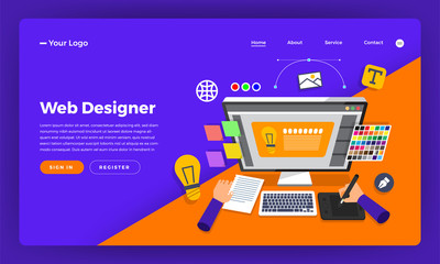 Mock-up design website flat design concept web designer.  Vector illustration.