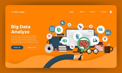 Mock-up design website flat design concept digital marketing. Big data Analyze. Vector illustration.