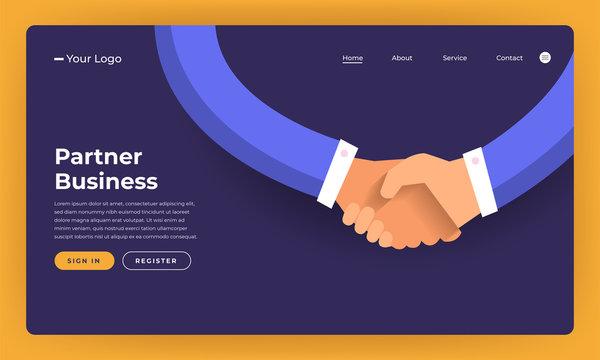 Mock-up design website flat design concept partner business deal.  Vector illustration.