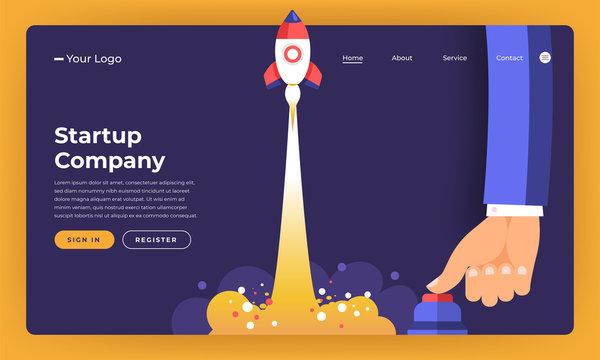 Mock-up design website flat design concept stratup rocket rise with hand push button.  Vector illustration.