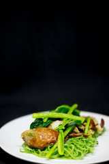Roasted duck with green jade noodles