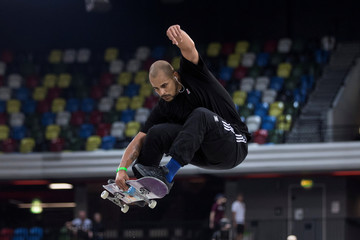 Blake Johnson, of the United States performs a trick during the Men's qualifier heats during the SLS London Pro Open at the Copper Arena in London
