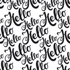Seamless pattern with lettering Hello.