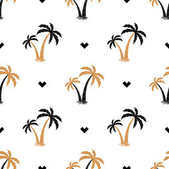 Seamless background with the image of palm trees. simple pattern. Summer background. Vector illustration.