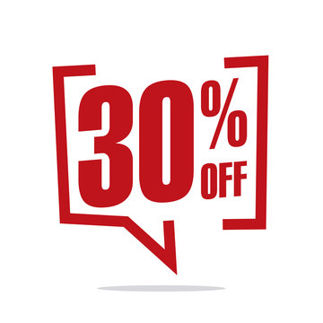30 percent off sale white red isolated sticker icon