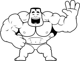 Cartoon Bodybuilder Waving