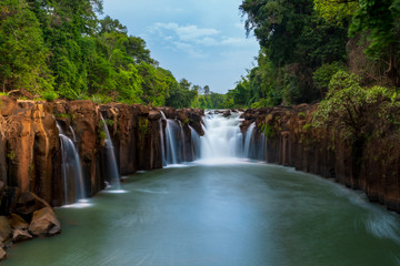 Tad pha-suam waterfall, the famous waterfall in Pakse, Laos