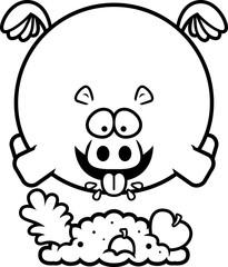 Cartoon Hippo Eating