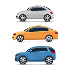 Poster Cartoon cars Car side view vector set. Silver mini, yellow sedan and blue hatchback auto. Isolated on white background. Colorful flat style illustration.