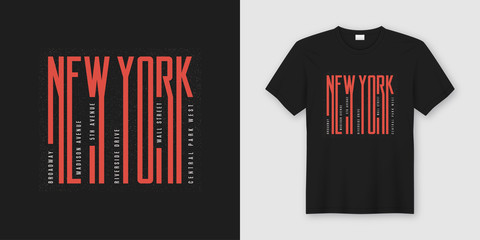 New York streets stylish t-shirt and apparel design, typography,