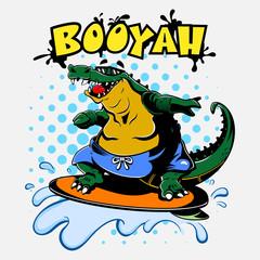 Alligator play Surfing on Beach with Booyah Text Cartoon Vector
