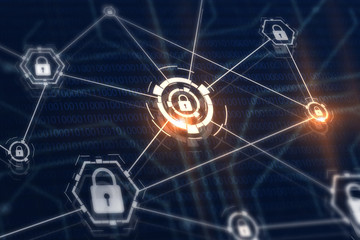 Access control and cyber security concept. Padlocks and locks on virtual digital screen. Data and information protection protocol. Secure connection.