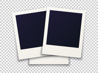 Rotated photo frame concept, isolated objects on transparent background. Vector detailed illustration edge for images and pictures.