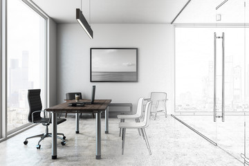 Concrete office interior sketch