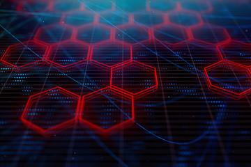Digital red hexagon background