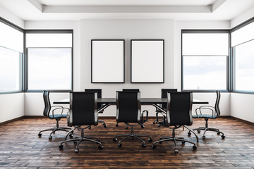 Contemporary meeting room with banner