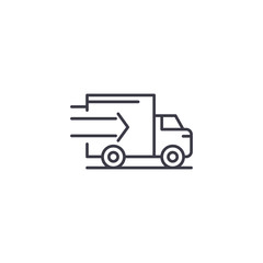 Fast truck delivery linear icon concept. Fast truck delivery line vector sign, symbol, illustration.