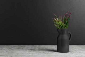 Vase with flowers on black background