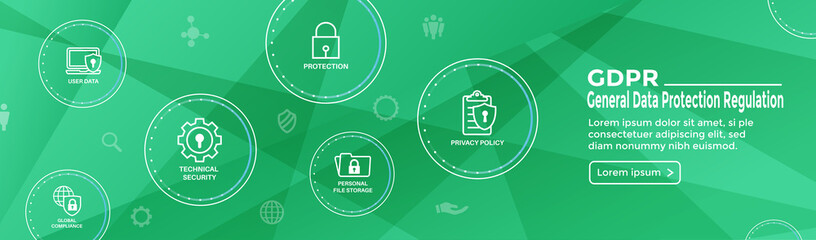 GDPR and Privacy Policy Web Banner Header & Background