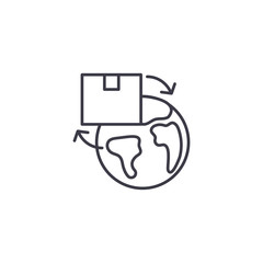 International delivery linear icon concept. International delivery line vector sign, symbol, illustration.