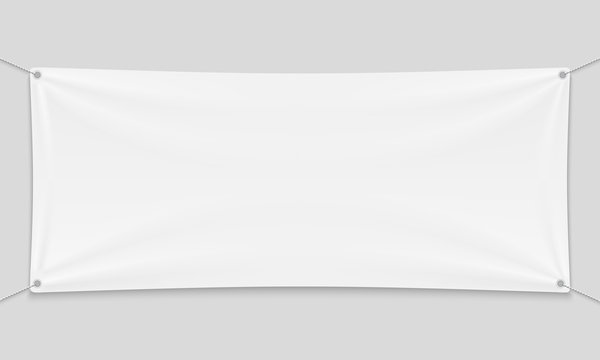 Empty mockup white textile banner with folds on ropes.
