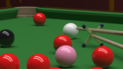 Snooker balls on green billiard table and cue on cross section rest 3d illustration