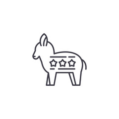Liberal Donkey linear icon concept. Liberal Donkey line vector sign, symbol, illustration.