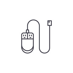 PC mouse linear icon concept. PC mouse line vector sign, symbol, illustration.