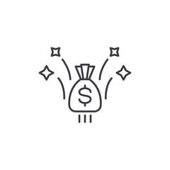 Profit linear icon concept. Profit line vector sign, symbol, illustration.