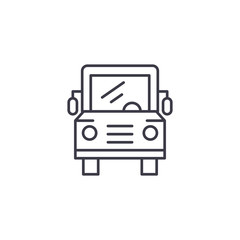School bus linear icon concept. School bus line vector sign, symbol, illustration.